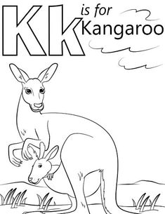 Letter K Coloring Page For Kangoroo