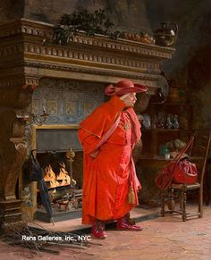 """Here is """"Cardinal by the Fire."""" In addition to being accomplished both in oil and watercolor, Vibert wrote a book about the science of painting, mostly about pigments and chemistry. He was also a dramatist, and wrote several plays."""