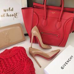 Céline luggage tote +  Nude YSL clutch  +  Nude Louboutin So Kate pumps     pinterest: @Blancazh