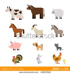 Cool flat design trendy style vector animals icon set. Flat zoo children wild farm domestic animal cartoon collection. Cow bull sheep horse goat pig dog cat pets turkey rabbit hare hen chicken. - stock vector