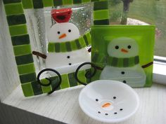 Snowman Green 9 Plate by NaturesGrace on Etsy, $38.00
