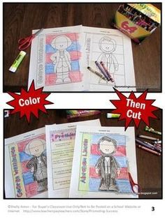 Presidents Day Activities Washington & Lincoln Interactive Notebook: In this foldable social studies craftivity, your students will learn about two presidents, George Washington and Abraham Lincoln. It works well for ESL and special education students. The students will color, cut, and paste facts to match each president. Students may use the facts provided or write their own facts. An answer key is provided.