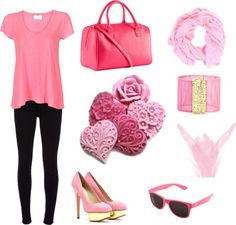 """Pink look;"" by irenepote ❤ liked on Polyvore"