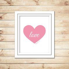 Valentine Love Heart Printable Wall Art Love by EllieMarieDesigns