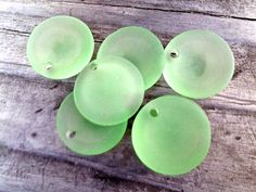 Sea Glass Beads   Frosted Peridot Green Concave by PrismsOfLight, $2.50