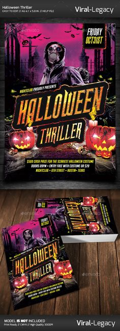 Halloween Thriller Party Flyer Template PSD #design Download: http://graphicriver.net/item/halloween-thriller-party/9107728?ref=ksioks