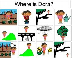 Spring Prepositions and Vocabulary- Dora the Explorer. I have a little girl on my caseload right now who LOVES Dora! Speech Activities, Language Activities, Preschool Activities, Spring Activities, Group Activities, Christmas Activities, Therapy Activities, Speech Language Pathology, Speech And Language