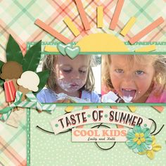 There are not many things that these girls like more than ice cream!  I used July's Monthly Mix called Taste of Summer--a Collab from the Gingerscraps designers found here:  http://store.gingerscraps.net/Monthly-Mix-Taste-Of-Summer.html