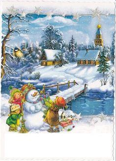 Børn bygger en snemand ikke langt deres lune stue.