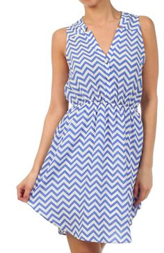 Tiffany S/L Chevron Elastic Waist Dress Blue | Freckles Boutique