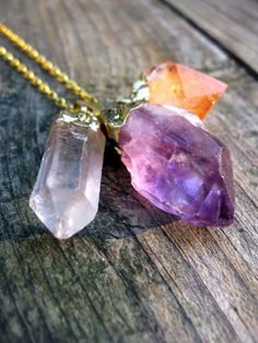 Triple Crystal Necklace. Gold Dipped Amethyst Citrine & Quartz by Larkin and Larkin on Etsy.