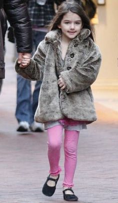 Suri is wearing her old favs: navy suede shoes by Flora & Henri, faux fur coat by Eliane Et Lena and the kaleidoscope set by Little Ella.