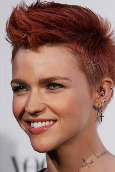 Simple Short Punk Hairstyles for Girl with Red Color...Another for K