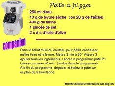 Pizza dough with the companion moulinex Dough Recipe, Pizza Dough, Celine Dion, Food, Cooking Recipes, Drinks, Thermomix, Essen, Meals