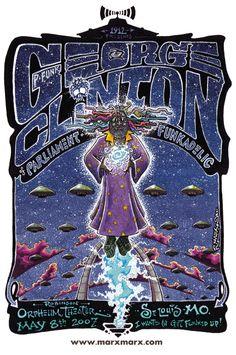 Parliment Funkadelic Posters | George Clinton - PFUNK - Parliament Funkadelic - St. L>ouis