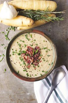 Roasted Potato, White Carrot and Garlic Soup