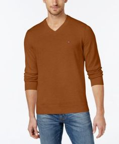 TOMMY HILFIGER Tommy Hilfiger Men'S Signature Solid V-Neck Sweater. #tommyhilfiger #cloth # sweaters