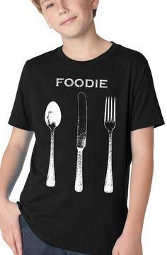 children's chef shirt - vintage design FOODIE - boy's black crew neck t-shirt