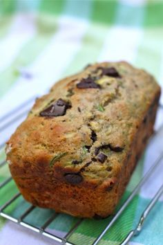 Zucchini bread with chocolate chunks.