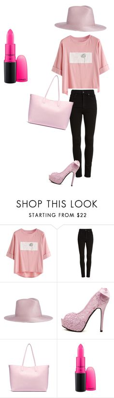 """""""Lady in pink"""" by charlotteouwerkerk ❤ liked on Polyvore featuring Citizens of Humanity, Janessa Leone, WithChic, Alexander McQueen, MAC Cosmetics, girlpower and powerlook"""