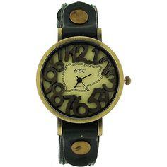 TOC Unisex Oxidised Metal Dancing Numbers Dark Green Strap Watch SW-775 Unisex, Watches, Dancing, Numbers, Metal, Green, Dark, Accessories, Dance