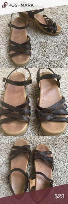 "Dansko Brown Leather Sandals Dansko Brown Leather upper sandals with heel size 39. Great preloved condition except for minor wear on heel as shown in picture. 2"" heel. Super comfortable sandals. Dansko Shoes Sandals"