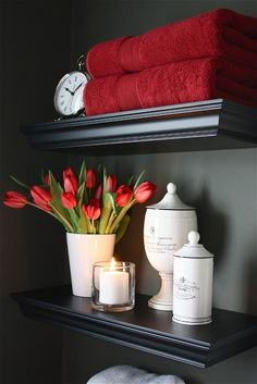 The Yellow Cape Cod Powder Room I absolutely LOVE the color scheme in this room!  The dark gray with white & red are beautiful & the red could easily be changed to other colors.  Now where to use it, hmm.....