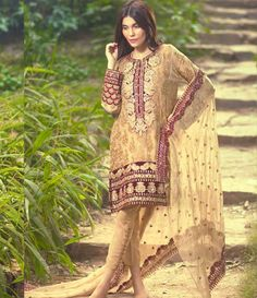 Mina Hasan Embroidered Chiffon Suits Collection 2016 Volume-2 MH_12