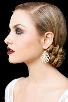 Bride's side part Gatsby inspired sleek French chignon bridal hair ideas Toni Kami Wedding Hairstyles ♥❸  red lipstick drop earrings