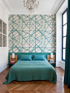 Traditional Interior Design Ideas For A Beautiful Home Wallpaper Design For Bedroom, Bedroom Wall Designs, Master Bedroom Design, Bedroom Colors, Bedroom Decor, Bedroom Green, Paris Bedroom, Bedroom Ideas, Bedroom Turquoise