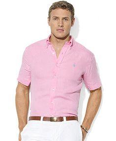 Polo Ralph Lauren Custom-Fit Linen Sport Shirt - Casual Button-Down Shirts - Men - Macy's