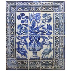 Late 17th Century Portuguese Azulejos Panel | From a unique collection of antique and modern decorative art at https://www.1stdibs.com/furniture/wall-decorations/decorative-art/