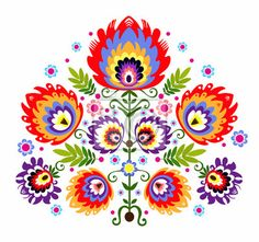 """Stickers """"colours, decoration, embroidery - ludowy wzór - kwiaty"""" ✓ Easy Installation ✓ 365 Day Money Back Guarantee ✓ Browse other patterns from this collection!"""