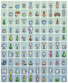 "2 x 100 Pixel Art Pieces: ""Food + Glassware"" Pixel Artist: neorice Source: deviantart.com (1) (2)"