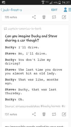 Disaster strikes when Bucky takes the wheel...