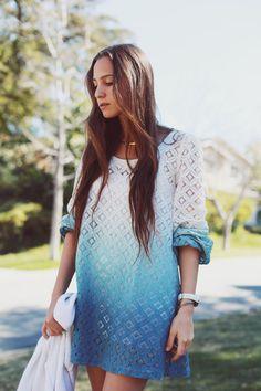 'bella sky' dip dyed lace dress by avelaka