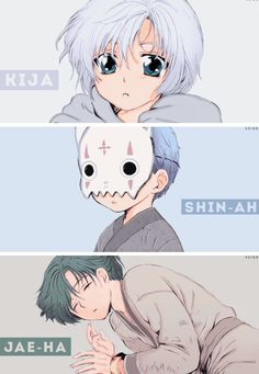 Akatsuki no Yona/Yona of the Dawn anime and manga || Kiga the white dragon Hakuryuu, Shin-ah Seiryuu the blue dragon, and Jae-ha Ryokuryuu the green dragon
