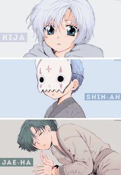 Akatsuki no Yona/Yona of the Dawn anime and manga || Kiga the white dragon Hakuryuu, Shin-ah Seiryuu the blue dragon, and Jae-ha Ryokuryuu the green dragon