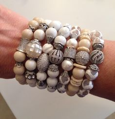 White gemstones and pearl with pave details. Lisa Jill Jewelry