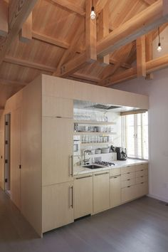 A single cube comprises a kitchen and bathroom at this renovation