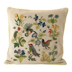 Vintage Bird and Floral Motif Embroidered Pillow Cover French Antiques, Vintage Antiques, Pillow Inserts, Pillow Covers, Modern Art Deco, Mid Century Modern Art, Vintage Birds, Modern Materials, Floral Motif