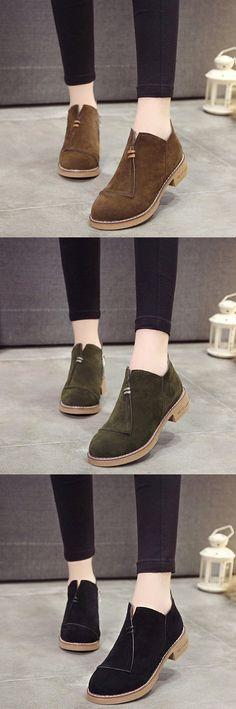 US$20.17 Vintage Zipper Ankle Boots For Women #ForWomens