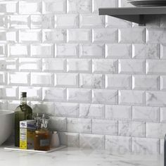 Metro Windley Carrara Kitchen Wall Tiles by CVA (tile factory) supplied by Tile Town. Discounted Brick Effect Tiles Kitchen Wall Tiles, Kitchen Layout, Kitchen Backsplash, Kitchen Design, Brick Effect Tiles, Kitchen Utilities, Kitchen Countertops, Kitchen Remodel, Home Decor