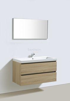 Badmeubel BWH Design Trend Line light wood 80 1 kraangat met spiegel 18080 BWH Design Floating Nightstand, Design Trends, Sink, Vanity, Modern, Table, Furniture, Home Decor, Anton