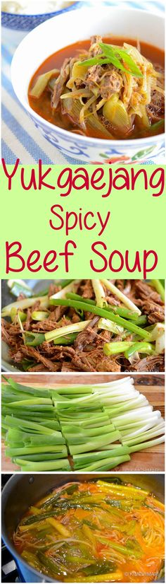 Yukgaejang is a classic hearty spicy Korean beef soup made with brisket meat and lots of green onions and bean sprouts. All you need is a bowl of rice and kimchi! Asian Recipes, Beef Recipes, Soup Recipes, Cooking Recipes, Asian Foods, Yummy Recipes, Korean Beef Soup, Asian Soup, Korean Dishes