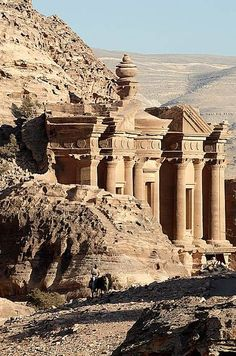 Petra Monastery at Petra, Jordan. This is this carved directly out of the surrounding stone landscape.