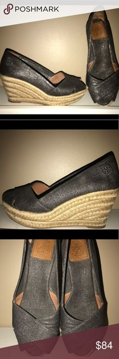 TORY BURCH espadrilles size 7 1/2 in EUC TORY BURCH espadrilles crossover black metallic on cream rope wedge.  Only worn several times and in excellent condition. Tory Burch Shoes Espadrilles