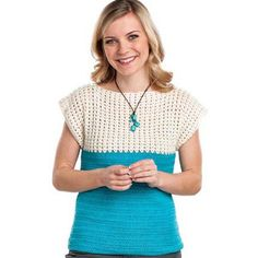 Two Tone Crochet Top Free Pattern - All Free Crochet Pattern + Video Tutorial Small (Medium, Large, XL, Crochet Summer Tops, All Free Crochet, Easy Crochet, Crochet Tops, Crochet Sweaters, Crochet Tunic, Crochet Clothes, Top Pattern, Free Pattern