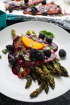 Blackberry Balsamic Trout With Orange Sesame Roast Asparagus Seafood Dinner, Fish And Seafood, Best Asparagus Recipe, Roast Asparagus, Blackberry Sauce, A Food, Food And Drink, Tasty, Yummy Food