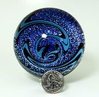Handmade Blue Contemporary Art Glass Vortex Marble Huge Lampwork Blown Glass